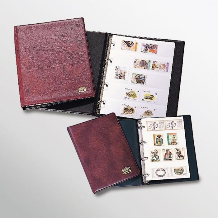 Clasor timbre de buzunar, 5 folii albe, coperta captusita, format A6 - Maro-550-6 [0]