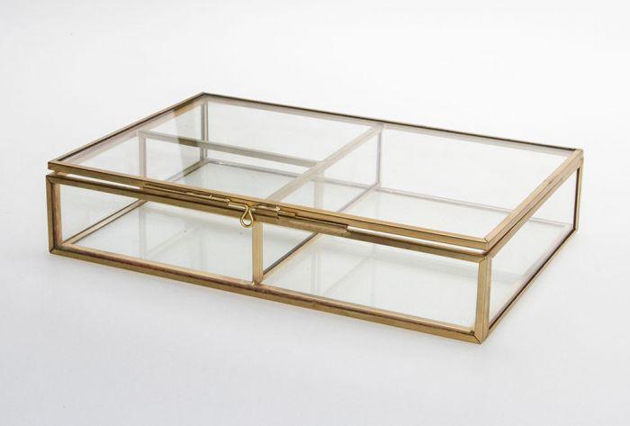 Cutie bijuterii din sticla cu rame din alama aurie-5700 [1]