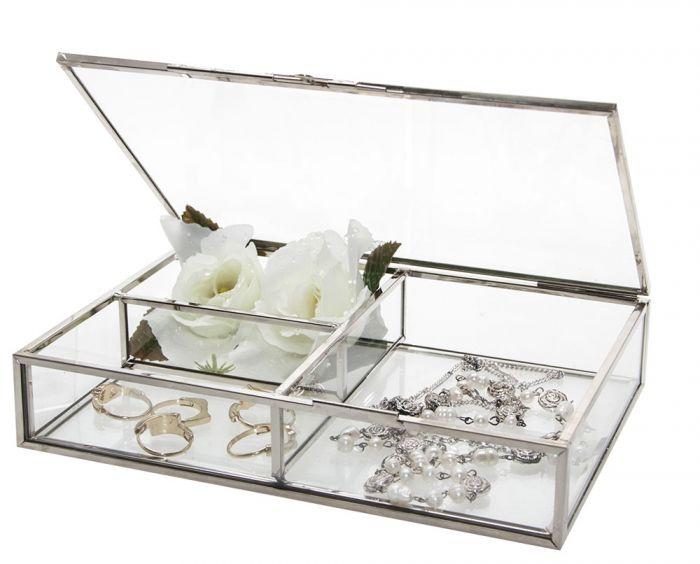 Cutie bijuterii din sticla cu rame din alama argintie-5701 [0]