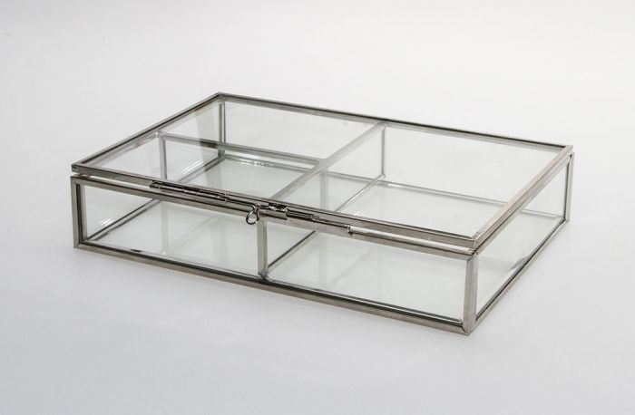 Cutie bijuterii din sticla cu rame din alama argintie-5701 [1]