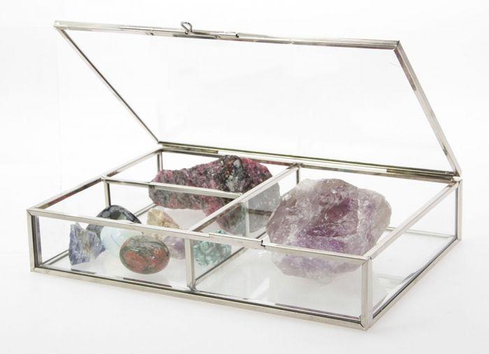 Cutie bijuterii din sticla cu rame din alama argintie-5701 [2]