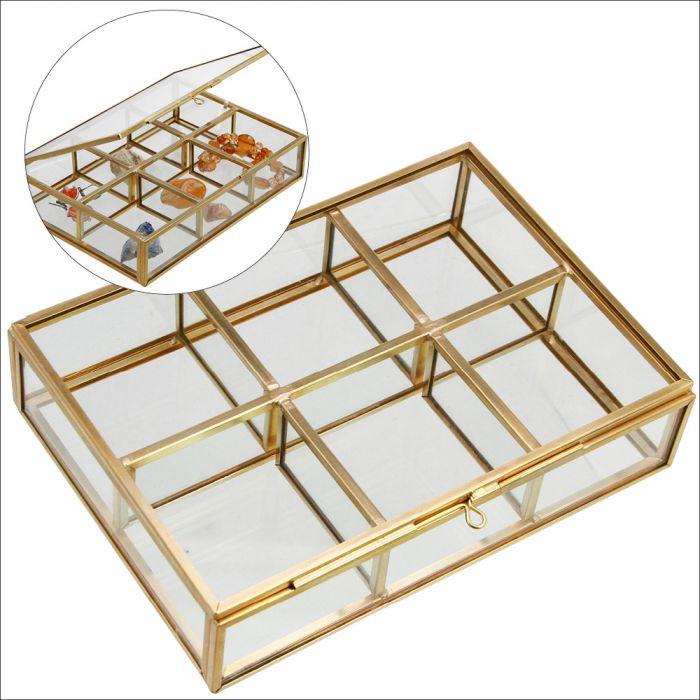 Cutie sticla pentru bijuterii, 6 compartimente 50 x54 x 38 mm-5704 [0]