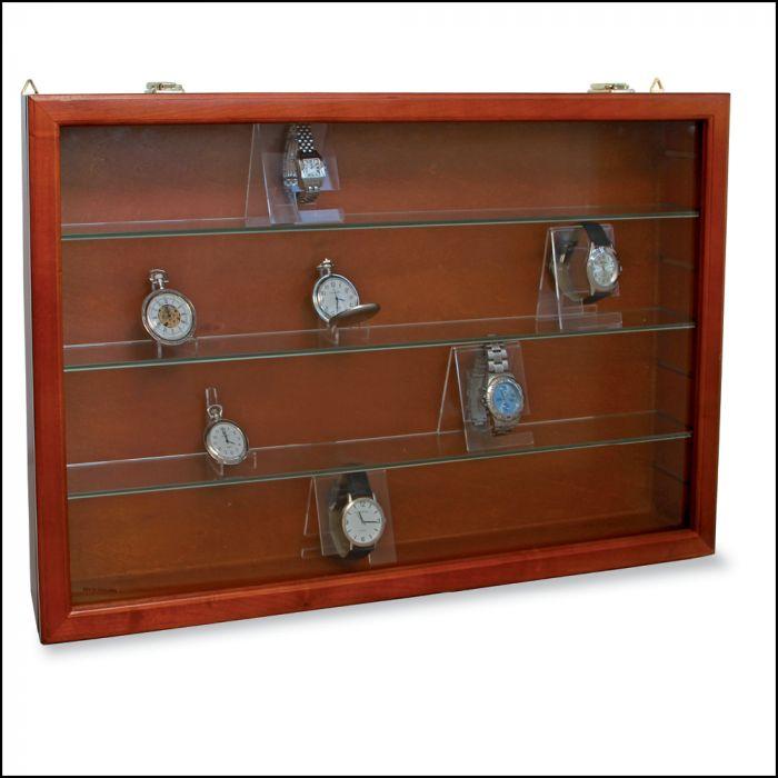 Vitrina din lemn cu rafturi de sticla 0