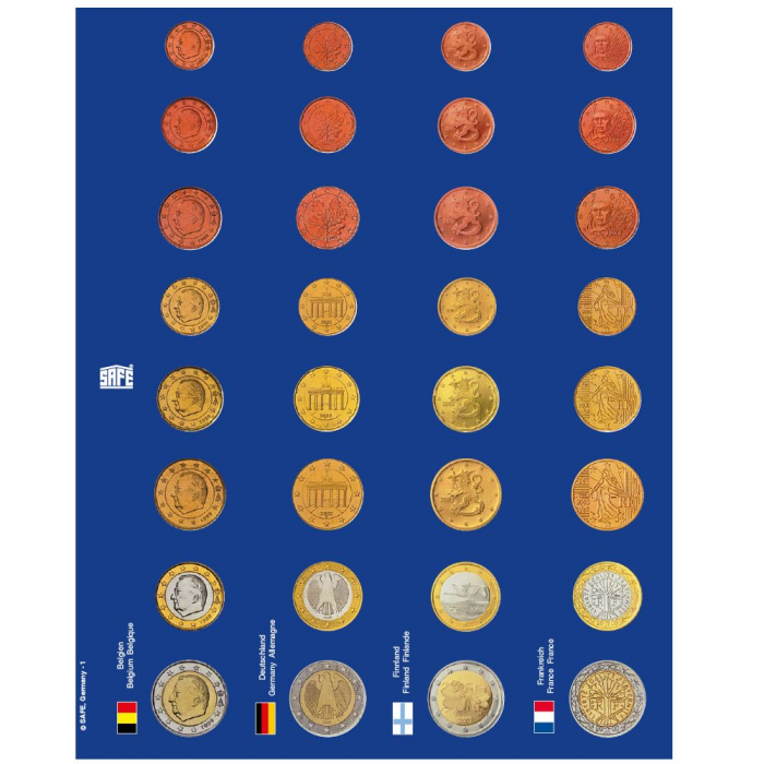 6 foi de carton albastru pre-imprimate cu monede euro in capsule si steagurile tarilor cu moneda euro-1865 [5]