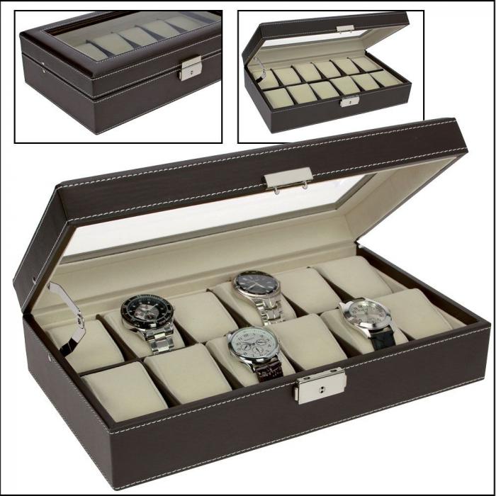 Cutie pentru ceasuri, piele sintetica granulata, geam de sticla si interior de catifea - Maro inchis-73630 [1]