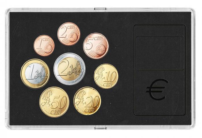 Cutie acrilica cu insertie de carton negru pentru 1 set de monede - 1 cent 2 cent 5 cents 10 cents 20 cents 50 cents 50 cents 1 euro 2 euro -7903 [0]