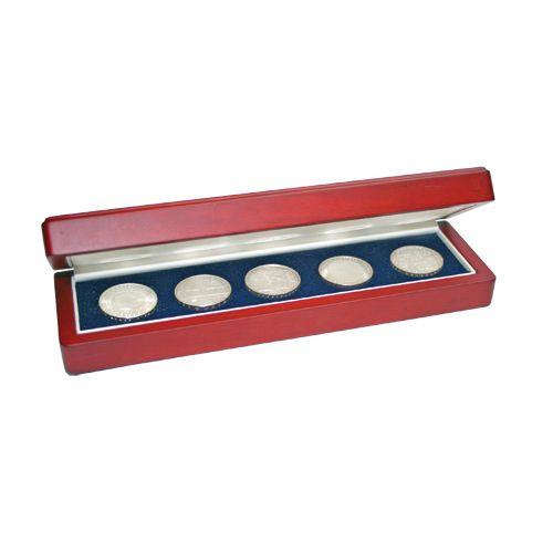 Cutie pentru monede, lemn de mahon, spuma cu memorie in catifea albastra pentru monede-7911 [3]