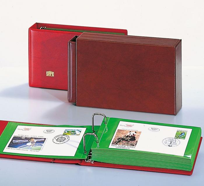 Album captusit pentru carti postale, bancnote, fdc 20 folii verzi- [1]