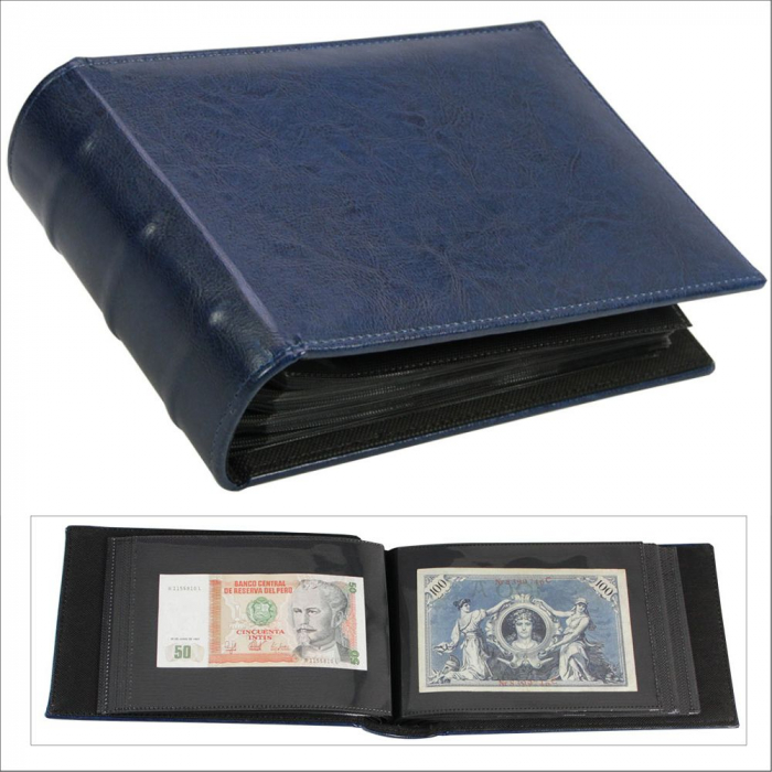 Album pentru FDC, bancnote cu coperta captusita cusuta manual - Albastru-4139 [0]