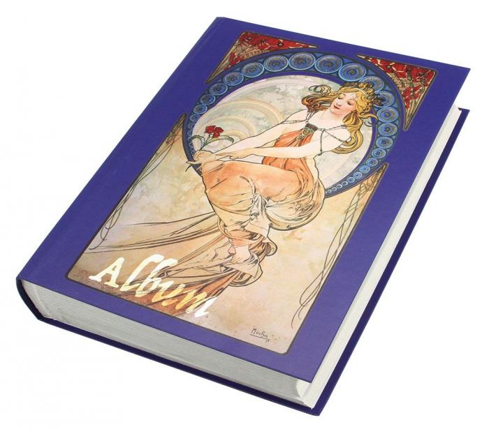Clasor timbre 30 file / 60 pagini albe, coperta albastra - Alfonso Mucha-100 [0]
