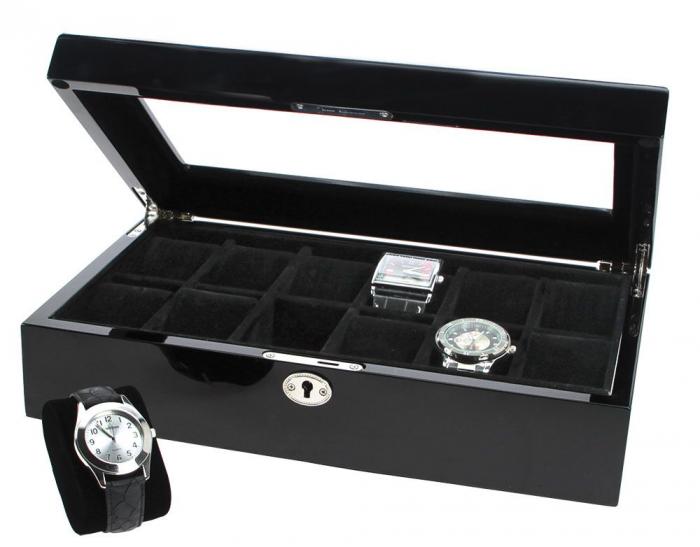 Cutie 12 ceasuri de mana, lemn in negru antracit acoperit in lac de pian - Nobil-251 [0]