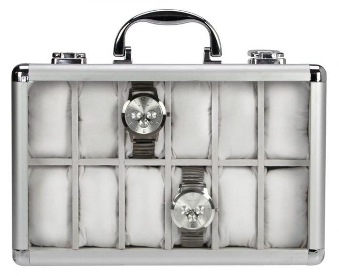 Valiza aluminiu pentru 12 ceasuri de mana, interior de velur Gri - Clasic-265-2 [0]
