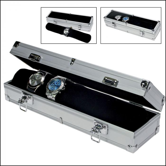 Cutie aluminiu pentru 7 ceasuri, interior catifea neagra - Fashion-255 [0]