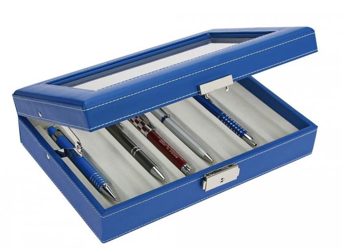 Cutie captusita, cusatura manuala, pentru stilouri, pixuri, instrumente de scris - Albastra-73628 [0]