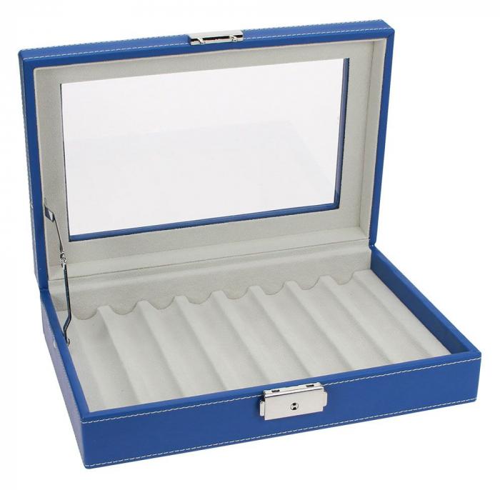 Cutie captusita, cusatura manuala, pentru stilouri, pixuri, instrumente de scris - Albastra-73628 [3]