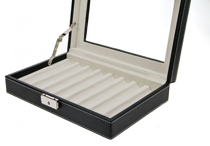 Cutie captusita, cusatura manuala, pentru stilouri, pixuri, instrumente de scris - Neagra-73627 [2]