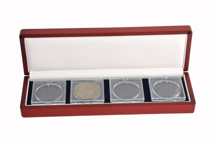 Cutie pentru monede, lemn de mahon, spuma cu memorie in catifea albastra pentru monede-7911 [0]