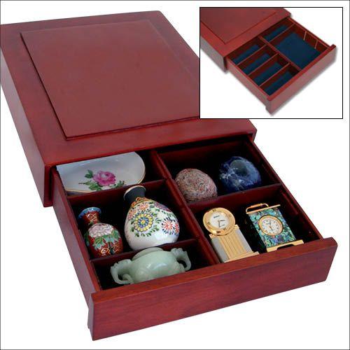 Cutie din lemn, Nova Exquisite, cu compartimente reglabile pentru pietre, minerale, figurine, bijuteri, coin slabs, NCG, PCGS-6880 [1]