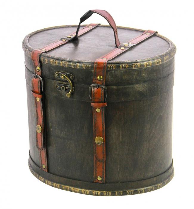 Cutie din lemn, ovala, capac cu bretele de piele rosie - Maxi-3148 [0]