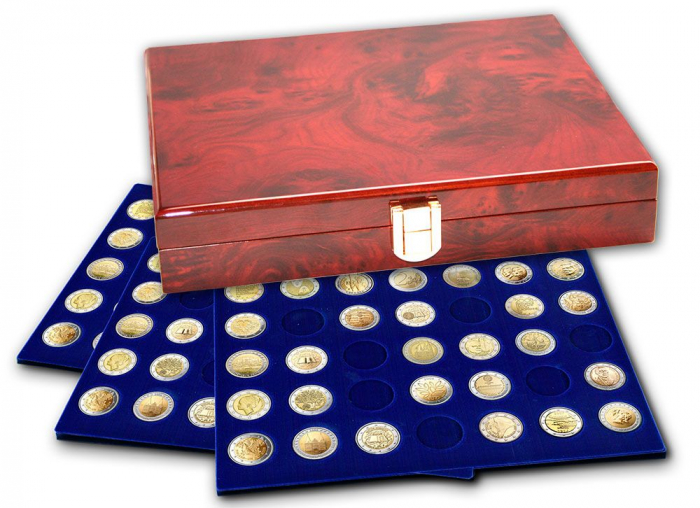 Cutie din lemn acoperit cu lac de pian, cu 3 tavi in catifea pentru 90 monede de 34 mm - Premium-5791 [0]