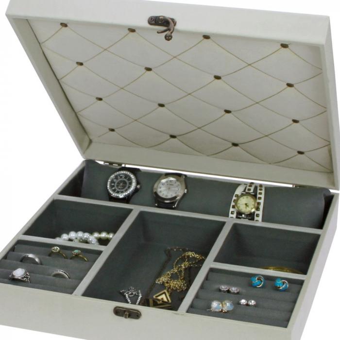 Cutie bijuterii si ceasuri, lemn cu print floral - Retro-159 [1]