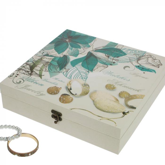 Cutie bijuterii si ceasuri, lemn cu print floral - Retro-159 [0]