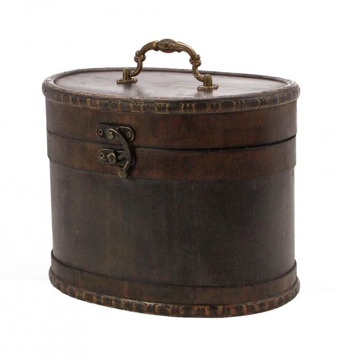 Cutie pentru bijuterii, lemn oval, capac cu maner de alama si inchidere cu carlig - Mini-3150 [0]