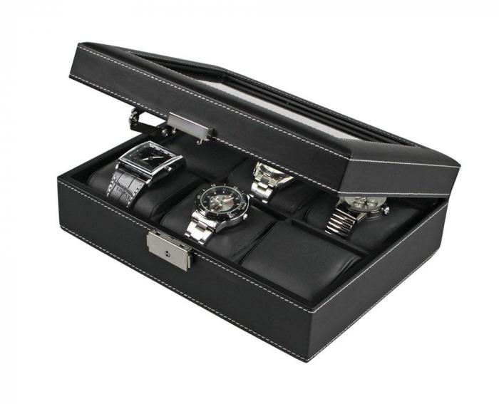 Cutie piele sintetica neagra cu granulatie fina, pentru 6 ceasuri de mana - Exclusive-217-1 [1]