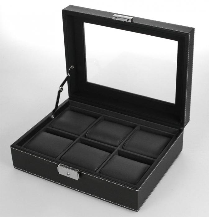 Cutie piele sintetica neagra cu granulatie fina, pentru 6 ceasuri de mana - Exclusive-217-1 [0]