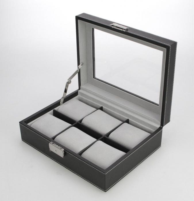 Cutie piele sintetica cu granulatie fina, pentru 6 ceasuri de mana, interior de catifea Gri - Exclusive-217-2 [1]