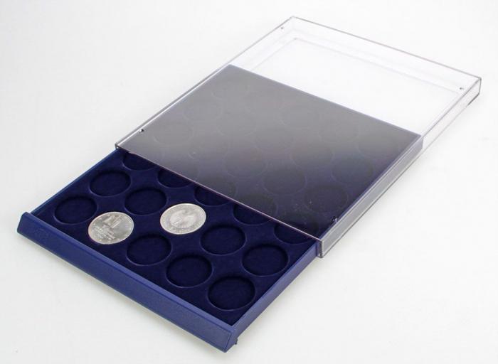 Tava cu carcasa acrilica si insertie in catifea albastra cu 6 spatii de 70 x 62 mm - Nova-Standard-6370 [1]