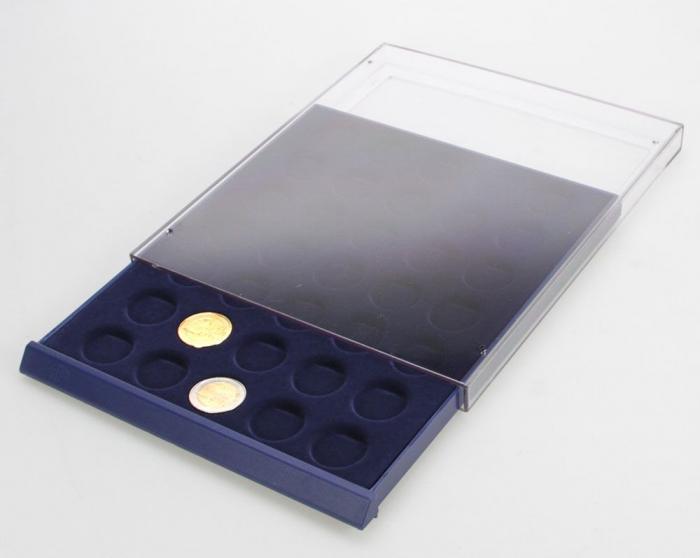 Tava cu carcasa acrilica si insertie in catifea albastra cu 6 spatii de 70 x 62 mm - Nova-Standard-6370 [2]