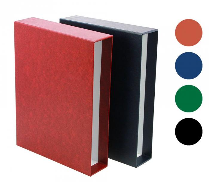 Etui lucrat manual Caseta de protectie pentru Clasor de timbre 64 pagini - Albastru-153-4 [0]