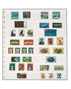 Folii cu 16 straifuri pentru timbre, negre - 5 buc [0]