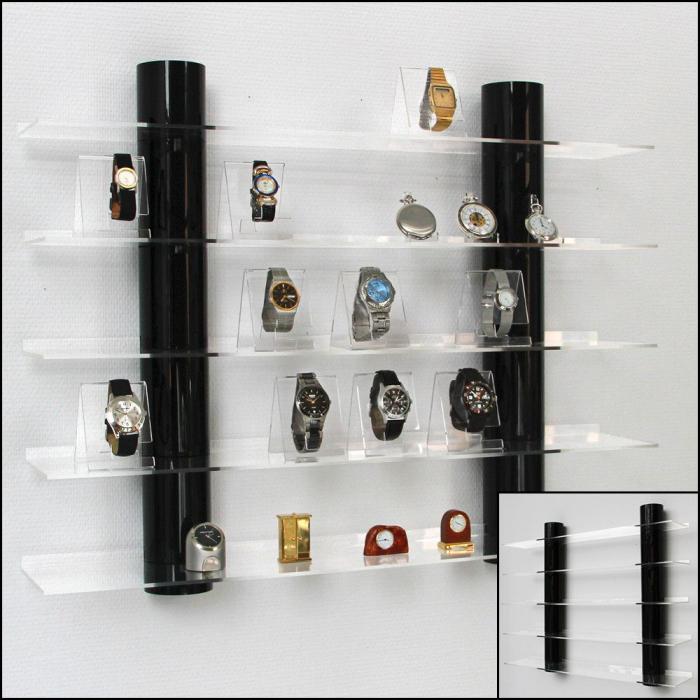 Raft acrilic prezentare cu 5 etajere, 2 coloane sticla acrilica neagra - Top View-5296 [1]