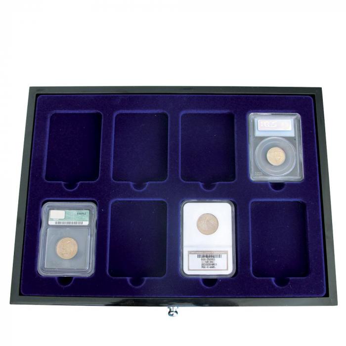 Sertar lemn inaltime 25 mm, Black Lacquer, pentru monede in slabs-5654-2 [0]