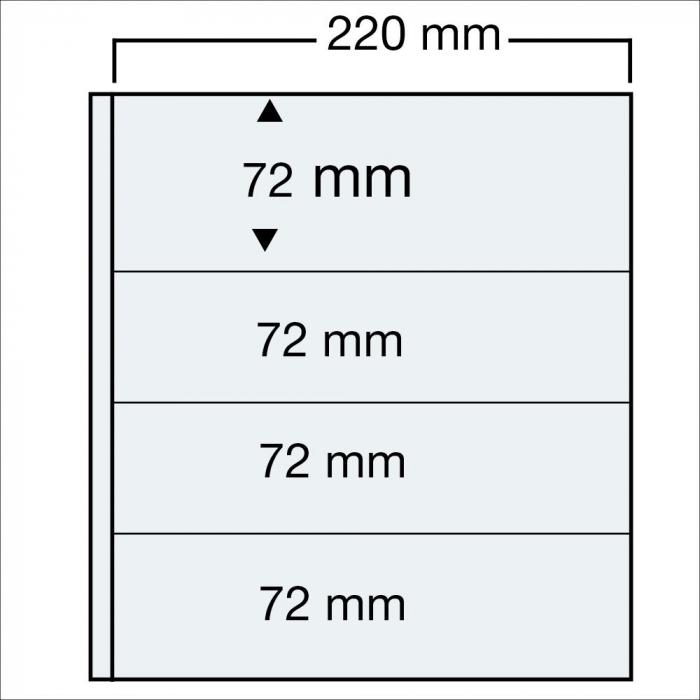 Set 15 folii pentru bancnote, 4 buzunare de 220 x 72 mm-5476PA [0]