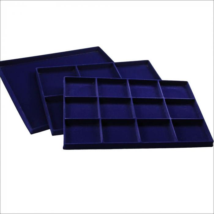 Tava pentru monede, 332 x 235 mm, in catifea albastra, 12 locasuri de 80 x 75 mm-193 [0]