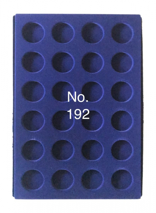 Tava pentru monede, 327 x 227 mm, in catifea albastra, 24 locasuri rotunde de 38 mm-192 [0]