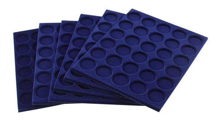 Tava pentru monede, 327 x 227 mm, in catifea albastra, 35 locasuri de 34 mm-280 [1]
