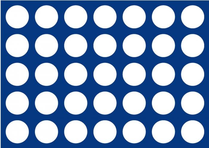 Tava pentru monede, 327 x 227 mm, in catifea albastra, 35 locasuri de 34 mm-280 [0]