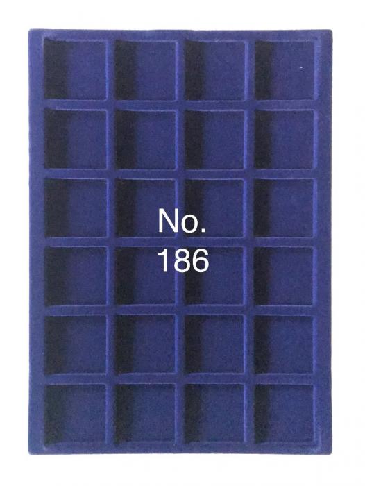 Tava pentru monede, 327 x 227 mm, in catifea albastra, 24 locasuri de 46 mm-186 [0]