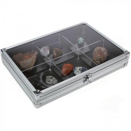 Vitrina aluminiu pentru pietre, fosile, roci, miniaturi-5615 [0]