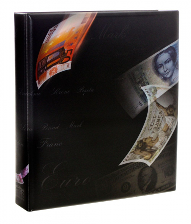 Album pentru bancnote, coperta captusita, 8 folii si insertii de carton negru - ART-line-safe1269 [1]