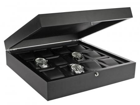 Caseta pentru ceasuri, lemn de frasin negru antracit pentru 12 ceasuri - Nobil-252 [0]