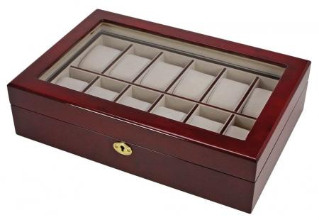 Cutie 12 ceasuri, lemn acoperit cu lac de pian, piele sintetica - Exclusive-260 [1]
