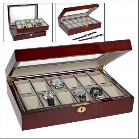 Cutie 12 ceasuri, lemn acoperit cu lac de pian, piele sintetica - Exclusive-260 [0]