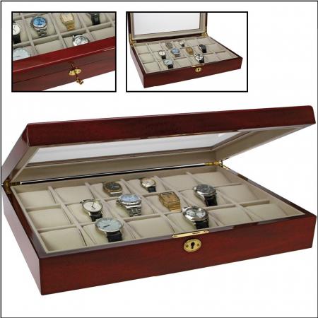 Cutie 18 ceasuri, lemn acoperit cu lac de pian, montabila pe perete - Exclusive-261 [0]