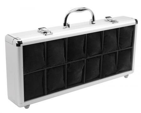 Valiza aluminiu, catifea neagra, 12 ceasuri - Design-262 [1]