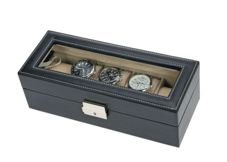 Cutie ceasuri, piele neagra cu granulatii, 5 pernute in catifea bej-264 [1]